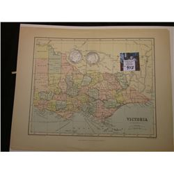 "10.5"" x 13"" Map ""Victoria"", ready for framing; & 1899 P & 1900 O Barber Half Dollars in G-AG."