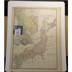 "8.5"" x 10.75"" Map ""Japan or Nippon & Indo China and Farther India"" ready for framing;  & 1900 O & 19"