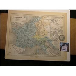 "9.25"" x 11.25"" Map ""Empire of Francais en 1815"" ready for framing; & 1900 P & 1901 P Barber Half Dol"