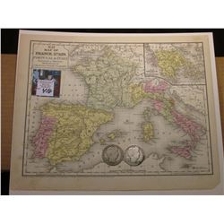 "9.25"" x 11.5"" ""Map of France, spain, Portugal & Italy Engraved"" ready for framing; & 1900 P & 1901 P"