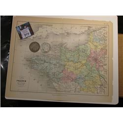 "9.25"" x 11 3/8"" ""Carte de la France Administrative Partie Nord-Ouest"" ready for framing; & 1900 S &"