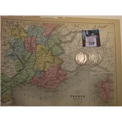 "9"" x 11.25"" ""Carte de la France Administrative Partie Sud-Est"" ready for framing; & 1900 O & 1901 P"