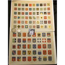 (2) Ready to Frame Illustrations of Heraldic Shields for various departments of France; & 1900 P & 1