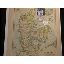 "10.5"" x 13"" Map of ""Denmark with Schleswig - Holstein"" ready for framing; & 1901 P & S Barber Half D"