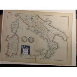 "10"" x 13"" Map of ""Italia (Southern Part)"" ready for framing; & 1901 P & 1902 P Barber Half Dollars i"