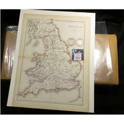 "10"" x 13"" Map of ""Britaniia"" ready for framing; & 1901 P & 1902 P Barber Half Dollars in G-AG."