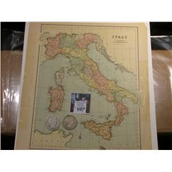 "10.5"" x 11.5"" Map of ""Italy"" ready for framing; & 1902 P & 1903 O Barber Half Dollars in G-AG."