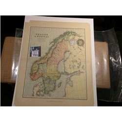 "10.5"" x 13"" Map of ""Sweden & Norway"" ready for framing; & 1902 P & 1903 S Barber Half Dollars in G-A"