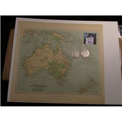 "10.5"" x 11.5"" ""Physical Map of Australasia"" ready for framing; & 1902 P & 1903 S Barber Half Dollars"