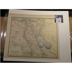 "8.5"" x 9 7/8"" Map of ""Egypt"" ready for framing; & 1902 O & 1903 S Barber Half Dollars in G-AG."