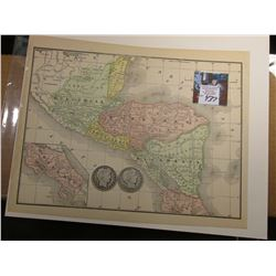 "8.5"" x 10 7/8"" Map of ""Central America"" ready for framing; & 1902 P & 1903 P Barber Half Dollars in"