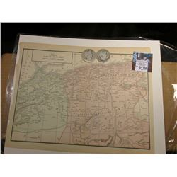 "8.5"" x 11"" Map of ""North Africa"" ready for framing; & 1903 P & O Barber Half Dollars in G-AG."