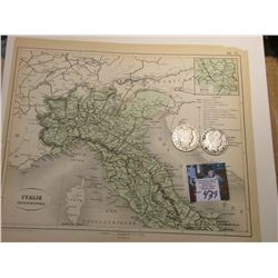"9.25"" x 10 7/8"" Map of ""Italie Septentrionale"" ready for framing; & 1903 S & 04 P Barber Half Dollar"