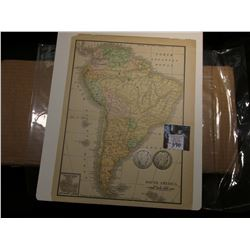 "8.5"" x 11"" Map of ""South America"" ready for framing; & 1904 P & 05 P Barber Half Dollars in G-AG."