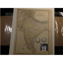 "8.5"" x 11"" Map of ""India"" ready for framing; & 1904 P & 05 S Barber Half Dollars in G-AG."