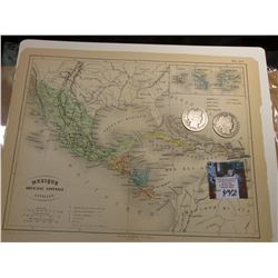 "9"" x 11.25"" ""Mexique Amerique Centrale Antilles"" ready for framing; & 1904 P & 1905 S Barber Half Do"