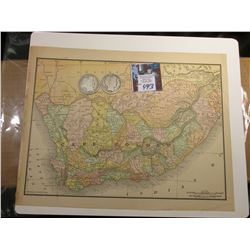 "8.5"" x 11.25"" Map of the Southern Portion of South Africa ready for framing; & 1904 P & 1905 S Barbe"