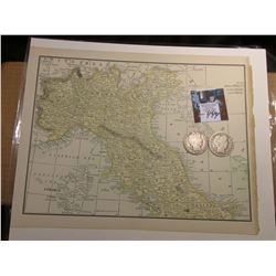 "8.5"" x 11"" Map of ""Northern Italy"" ready for framing; & 1904 P & 05 S Barber Half Dollars in G-AG."