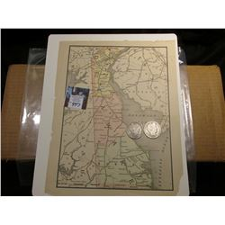 8.75 x 11.25 Map of Delaware & Delaware Bay ready for framing; & 1904 P & 05 S Barber Half Dollars i