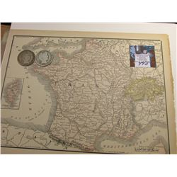 "8.5"" x 11"" Map of ""France & Corsica"" ready for framing; & 1904 P & 06 D Barber Half Dollars in Good."
