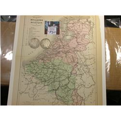 "9.25"" x 11.25"" Map ""Royaumes de Hollande et de Belgique"" ready for framing; & 1904 O & 1906 D Barber"