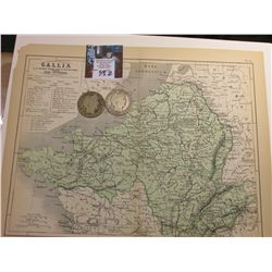 "9.25"" x 11.25"" Map ""Gallia (France, English Channel)"" ready for framing; & 1906 P & 1907 D Barber Ha"
