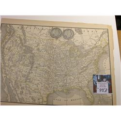 "8.5"" x 11.25"" Map ""United States of America"" ready for framing; & 1906 P & 1907 P Barber Half Dollar"