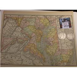 "8.5"" x 10.75"" Map ""Maryland, Delaware, Virginia, West Virgina area"" ready for framing; & 1906 P & 19"