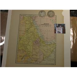 "8.25"" x 10.25"" Map ""Egypt, Abyssinia, & c."" ready for framing; & 1908 D & O Barber Half Dollars in A"