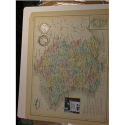 "9.25"" x 11.25"" Map ""La France Judiciaire"""" ready for framing; & 1906 O & 1907 P Barber Half Dollars"