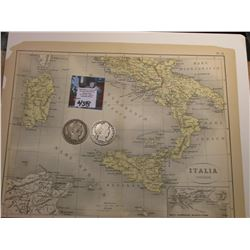 "9.25"" x 11.25"" Map ""Italia Inferior"" ready for framing; & 1906 D & 1907 P Barber Half Dollars in AG-"