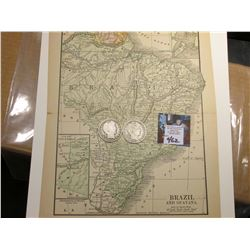 "8.5"" x 11"" Map ""Brazil and Guayana"" ready for framing; & 1906 0 & 1907 D Barber Half Dollars in Good"