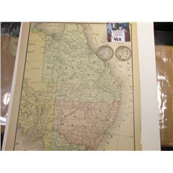 "8.5"" x 11"" Map ""East Coast of Australia"" ready for framing; & 1906 D & 1907 O Barber Half Dollars in"