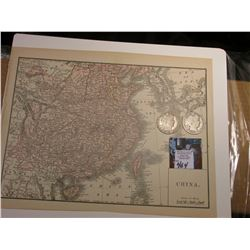 "8.5"" x 11"" Map ""China"" ready for framing; & 1906 P & 1907 D Barber Half Dollars in AG-Good."