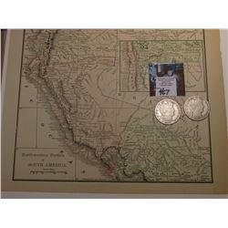 "8 1/2"" x 10 1/4"" Map ""Northwestern Portion of South America""; & 1907 P & 08 S Barber Half Dollars in"