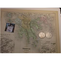 "9.25"" x 11.25"" Map ""Graecia Inferior"" ready for framing; & 1907 O & 1908 D Barber Half Dollars in AG"