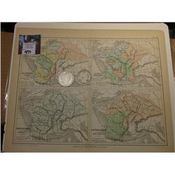 "9.25"" x 11.25"" Map ""Maps of France from 511-714 A.D."" ready for framing; & 1907 D & 1908 D Barber Ha"