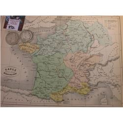 "9.25"" x 11.25"" Map ""Gaule Pendant L'Epoque Merovingienne"" ready for framing; & 1908 D & 1909 P Barbe"