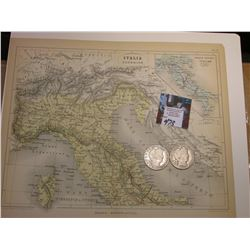 "9.25"" x 11"" Map ""Italia Superior"" ready for framing; & 1908 D & 1909 O Barber Half Dollars in Good t"