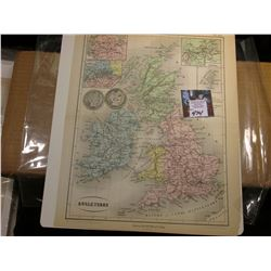 "9.25"" x 11.25"" Map ""Angleterre (British Isle)"" ready for framing; & 1908 O & 1909 P Barber Half Doll"