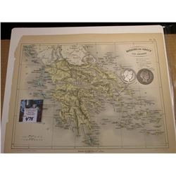"9.25"" x 11.25"" Map ""Royaume de Grece et Ioniennes"" ready for framing; & 1908 D & 1909 S Barber Half"