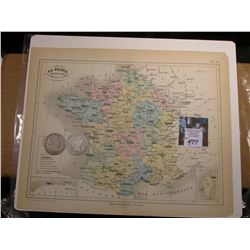 "9.25"" x 11.25"" Map ""La France Universitaire Divisee en 18 Academies"" ready for framing; & 1908 O & 1"