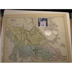 "9.25"" x 11.25"" Map ""Graecia Superior"" ready for framing; & 1908 S & 1909 P Barber Half Dollars in Go"