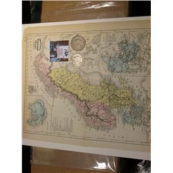 "9.25"" x 11.25"" Map ""Suede Norwege et Canemark"" ready for framing; & 1908 D & 1909 P Barber Half Doll"
