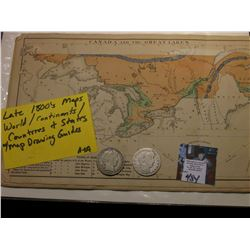 "7.25"" x 11.5"" Booklet of 1800 era Maps and Drawing Guides; & 1908 D & 1909 P Barber Half Dollars in"