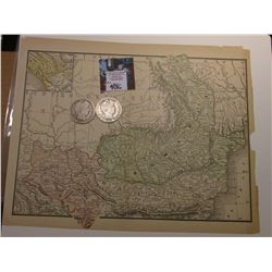 "8.5"" x 11"" Map ""Ary Austro Hungarian Monarchy""; & 1909 P & 1911 S Barber Half Dollars in AG-Good."
