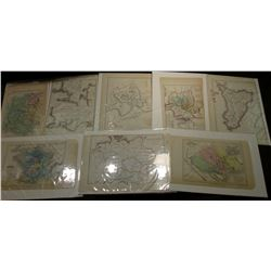 "Group of (15) 6.5"" x 9.75"" Approximate Size Matted World Maps; & 1909 S, 11 D, & 12 D U.S. Barber Ha"