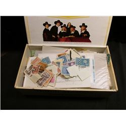 Large Group of Old U.S. & Foreign Postage Stamps in an old Dutch Masters Cigar Box.