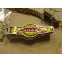 "White Owl Brand Cigar Box full of old Cigar bands. Includes ""Mas-Quo-Ta"", ""San Felice"", ""Brown Beaut"