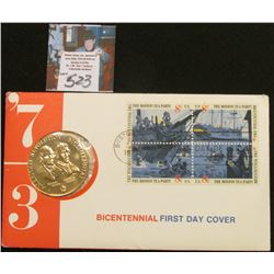 1973 Official US Bicentennial Medal w/1st Day Stamp Cover As Issued